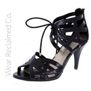 CHRISTIAN SIRIANO Black Lace Up Heels. 8.5